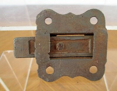 Vintage Small Weathered Iron Metal Eastlake Cabinet Window Slide Latch 6