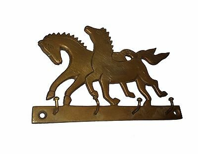 An Old & Lovely Brass made Unique RUNNING HORSES Coat Hook KEY HANGER from India 5