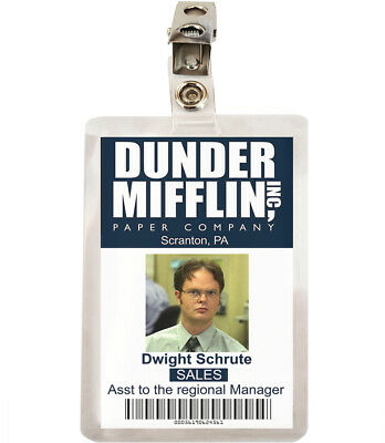 The Office Dwight Schrute Dunder Mifflin ID Badge Cosplay Costume Name Tag TO-1 2