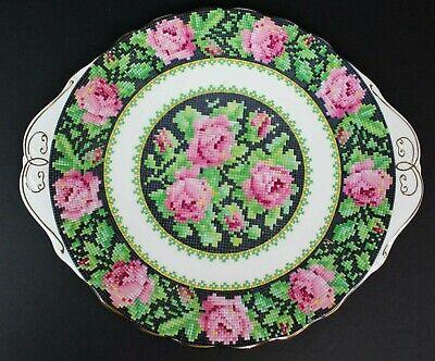 Royal Albert Needle Point Handled Cake Plate 10 inches Vintage Bone EUC 2
