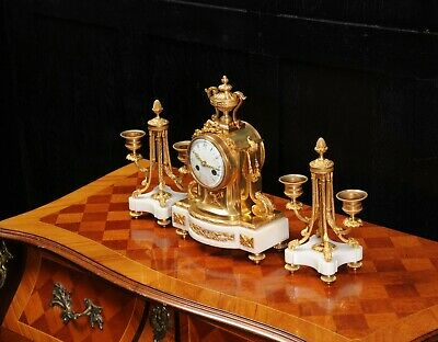 Ormolu and Marble Boudoir Antique French Clock Set by Vincenti C1860 8