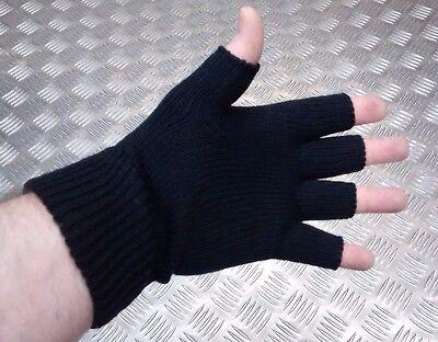 Guanti lavorati a maglia neri senza dita MF 15453A