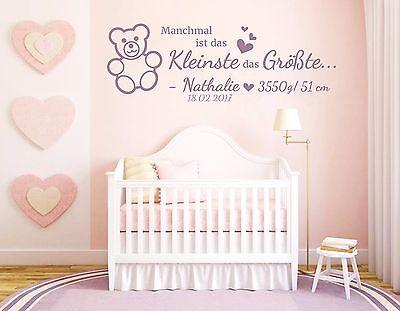 Wandtattoo Mit Name Geburtsdaten Kinderzimmer Baby Geschenk Geburt