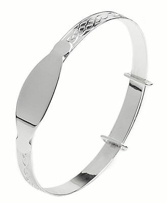 Personalised 925 Sterling Silver Baby Christening Bangle Bracelet Any Name 10