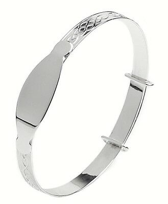 Personalised 925 Sterling Silver Baby Christening Bangle Bracelet Any Name 3