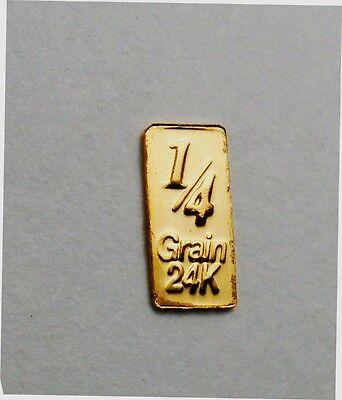 1//60th gram gold pure 24k 3mm X 6mm fractional gold 999 FINE bullion barD18b