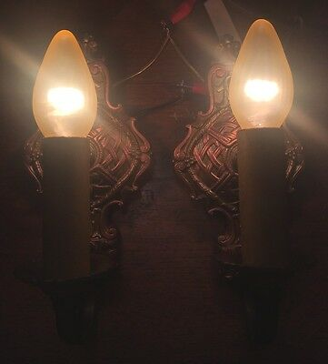 Matched Pair Antique Wired Wall Sconce Fixtures Light Lighting Vintage 3A
