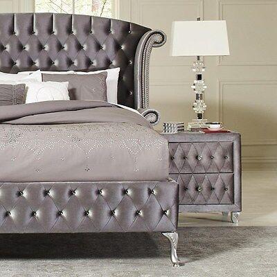 Magical 4 Pc Grey Velvet Tufted King Platform Bed Bedroom Furniture