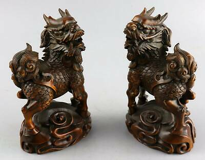 Collectable Antique Boxwood Hand Carve A Pair Exorcism Bring Luck Kylin Statue 2