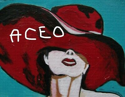 "A864 Original Acrylic Art Aceo Painting By Ljh  ""Picasso Lady"" 8"