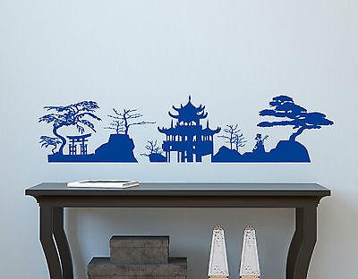 ASIEN LANDSCHAFT Japan China Schlafzimmer Deko Skyline Wandaufkleber ...