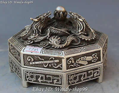 13cm Chinese Silver Carving Dragon Loong Eight Immortals Fqi Statue Case Box 4