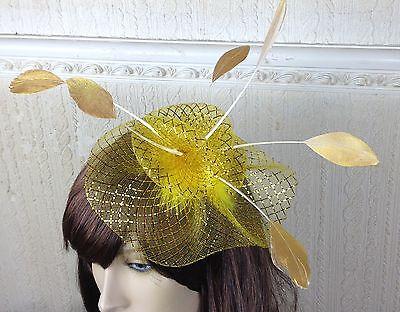 gold netting feather hair headband fascinator millinery wedding hat ascot race 2