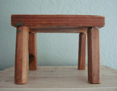 Small Wood FARMHOUSE MILKING STOOL- VTG Primitive Small Bench, Childs Furniture 2