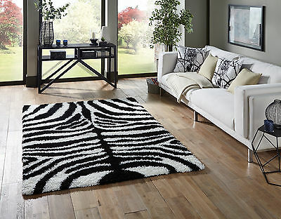 Small- Extra Large Zebra Black White Thick Soft Rug Modern Shaggy Non Shed Rugs 3