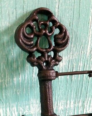 Chamber Skeleton Key Hook Cast Iron Wall Mount Rustic Old Fashioned Vintage New 3