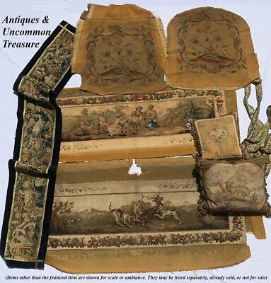 """RARE 55.5"""" Long Antique French Aubusson Tapestry Fragment, Sofa Panel, Figural 11"""
