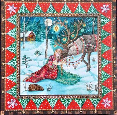Birthday Card Mythical Mystical Unicorn Wolf Full Moon Bear Pagan