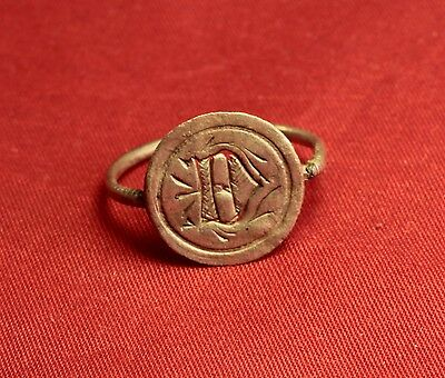 "Medieval Knight's Silver Seal Ring - 13. Century, ""D"" Monogram 3"