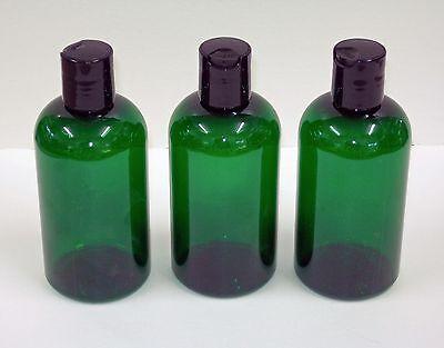"Amber/Green  Boston Round Plastic ""PET""  Bottles w/dispensing cap 4"