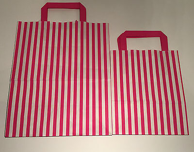 FLAT STRIPE Handle Coloured Paper Bags For Parties & Christmas Bags 11