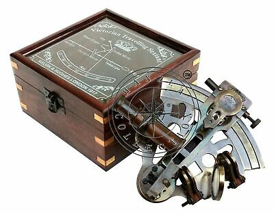 Antique Brass Working Nautical Sextant Vintage Maritime Astrolabe Wooden Box NEW 3