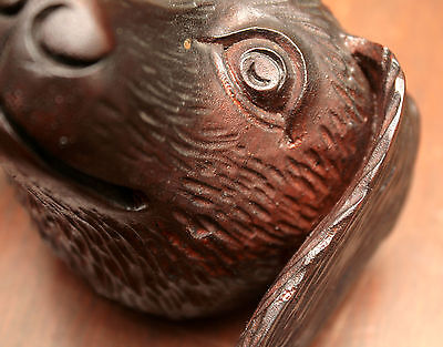 "Part- 19th c Renaissance Victorian carved dog head, walnut, 4""w 11"