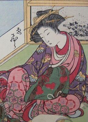 Japanese Prostitutes Woodblock Print Artists Shigemasa & Shunsho Read and Write 5