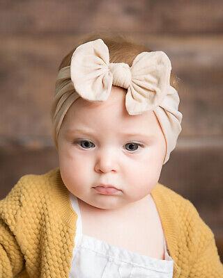 Baby Girls Bow Bun Turban Headband Hair band Head Wrap Cute Kids Plain Stretch 8