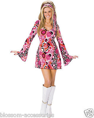 K276 Ladies 60s 70s Go Go Retro Hippie Dancing Groovy Disco Fancy Dress Costume