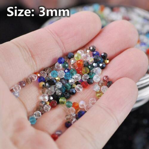3mm 4mm 6mm 8mm Round (32 Facets) Faceted Crystal Glass Loose Spacer Beads Lot 5