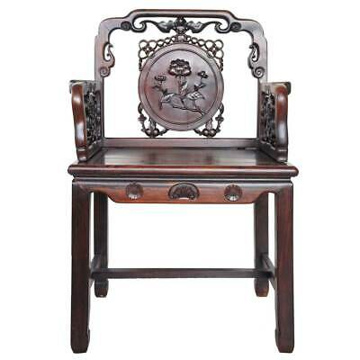 Antique Chinese Qing Medallion Back Rosewood Armchair 19th century 2