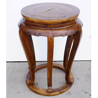 Antique Chinese Late Qing Elm Round 6-Leg Pedestal / Plant Stand 4