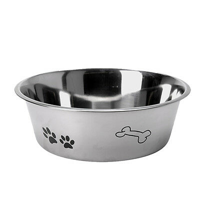Stainless Steel Metal Dog Bowl Anti Skid Embossed Feed Station Paw Bone Design 2
