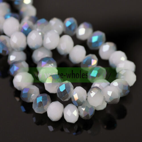 Lots Wholesale Rondelle Faceted Crystal Glass Loose Spacer Beads 3/4/6/8/10mm 5