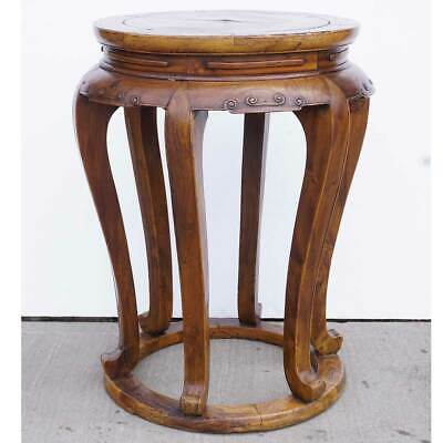 Antique Chinese Late Qing Elm Round 6-Leg Pedestal / Plant Stand 2