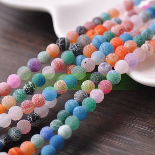 Natural Matte Frosted Gemstone Round Loose unpolished Charms Beads 6mm 8mm 10mm