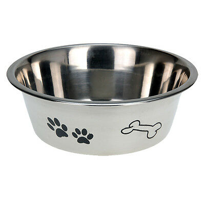 Stainless Steel Metal Dog Bowl Anti Skid Embossed Feed Station Paw Bone Design 3