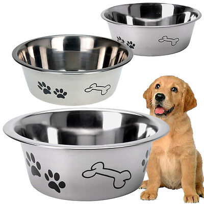 Stainless Steel Metal Dog Bowl Anti Skid Embossed Feed Station Paw Bone Design 5