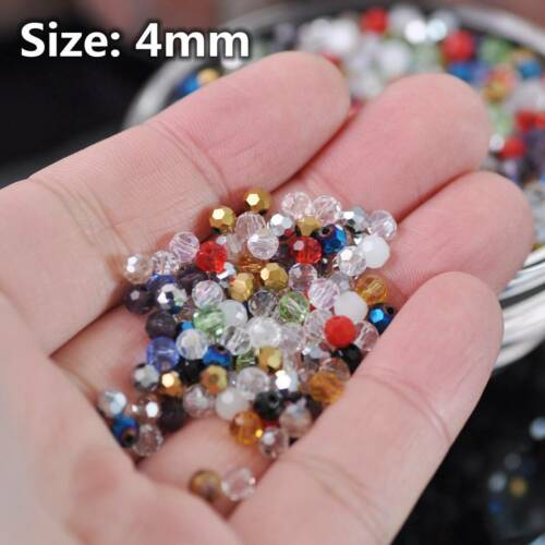 3mm 4mm 6mm 8mm Round (32 Facets) Faceted Crystal Glass Loose Spacer Beads Lot 4