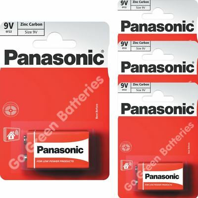 3 x Panasonic 9V PP3 Zinc Carbon Batteries, 9 Volt Smoke Alarms, LR22, MX1604