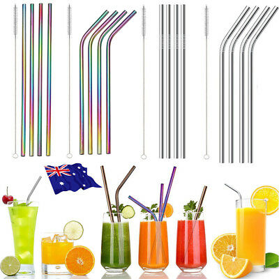 4x Reusable Rainbow Stainless Steel Metal Drinking Straw Straws & Cleaning Brush 2