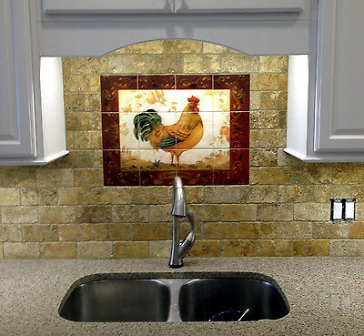 1 Of 7 Travertine Vivid Art Rooster Kitchen Mural Backsplash Bath Tile #322