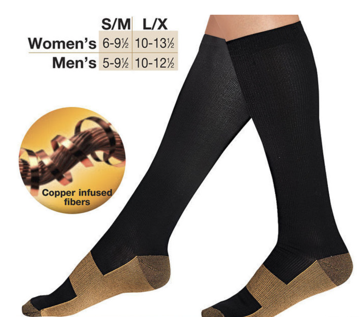 Copper Compression Stockings 20-30mmHg Support Socks Miracle Calf Men's Women's 2