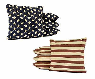 Set of 4/'x2/' Distressed American Flag Cornhole Boards With 8 Cornhole Bags