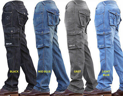 New Mens Denim And Dye Cargo Combat Work Cheap Pants Jeans Trousers Waist Sizes 2