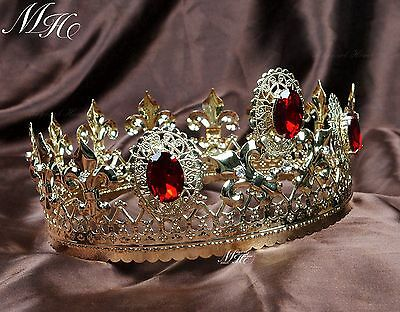 """Red Crystal Tiara Diadem 3.5/"""" Gold Imperial Medieval Crown Pageant Party Costume"""