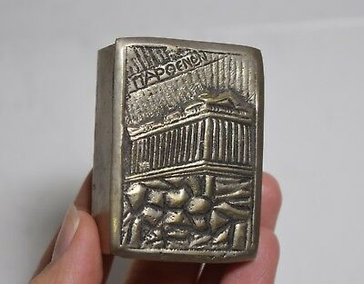 Antique Rare HAND MADE Metal Match Holder Greek PARTHENON Acropolis, engraved