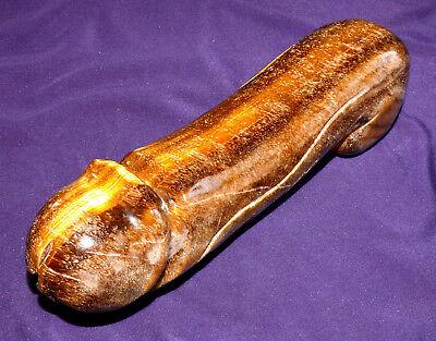 XL!! Tigerauge Skulptur Phallus, 820,5g 184x54x48mm Heilstein, Erotic
