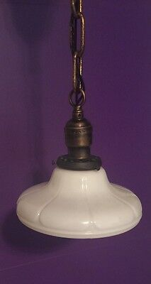 Vintage Brass Pendant Light With Beautiful Globe Hubbell Socket 5